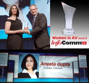 Aneeta Gupta receiving Women in AV Award at InfoComm 2013-USA