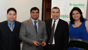 Logicom's David Yuson and Srijit Nair collecting the awards