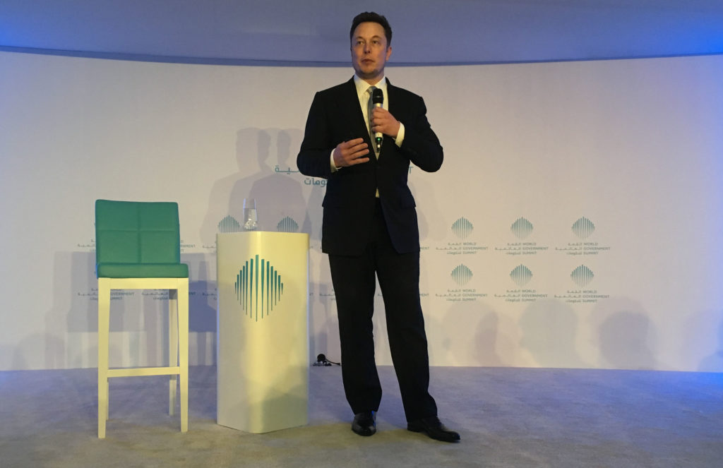 Tesla CEO Elon Musk speaking at the World Government Summit