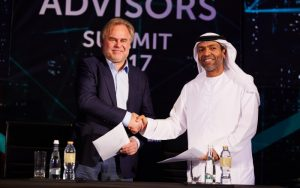 Eugene Kaspersky, Kaspersky Lab, and Khaled Al Melhi, Injazat at the signing of the MoU.