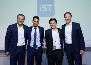 (L-R) Giorgio Villa, senior account executive, Channels, Genesys; Sherif Fahmy, marketing manager, IST; Norman Liu, marketing director, IST and Friedbert Schub, senior vice president, Sales, Genesys)