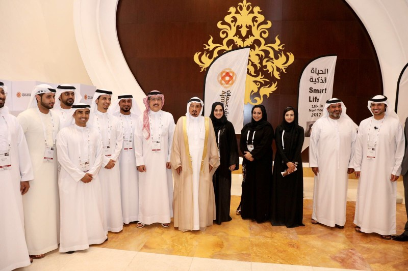 HH Sheikh Humaid bin Rashid Al Nuaimi was accompanied by HH Sheikh Rashid bin Humaid Al Nuaimi, and a number of senior officials, as he took a quick tour of the exhibition pavilions at Smart Life.