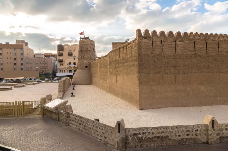 Al Fahidi fort - ancient arabic fortress in Dubai Museum, UAE, Dubai tourism