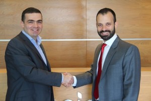 Martin Gibbons, Director of Distribution, EMEA at CommVault (L) with Nicholas Argyrides, Director of Sales & Marketing - Distribution, Logicom Group (R)