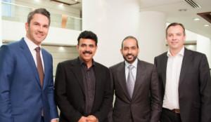 (L-R) Mario M. Veljovic, Parvez Ahmed, V.M. Chandrasekar and Laurent Journoud