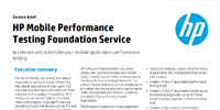 HP Mobile Performance Testing Foundation Service