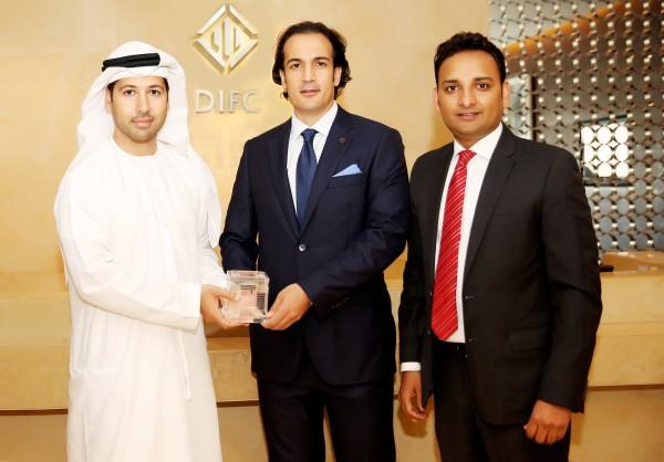 (L-R) Arif Amiri, CEO, DIFC with Nidal Kamouni, CEO and Sajid Barkat, Director of Administration, PCCI Group