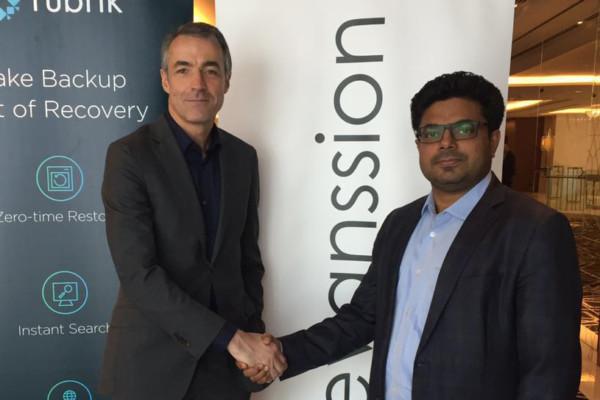 (L-R) Karl Driesen, Head of EMEA Sales, Rubrik with Dilip Kalliyat, President of Evanssion