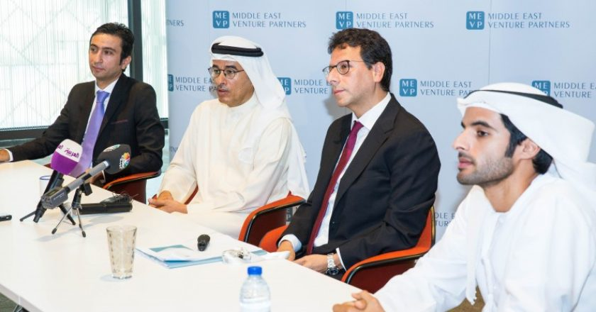 Walid Mansour, Mohamed Alabbar, Walid Hanna and Rashid Alabbar at the MEVP fund launch