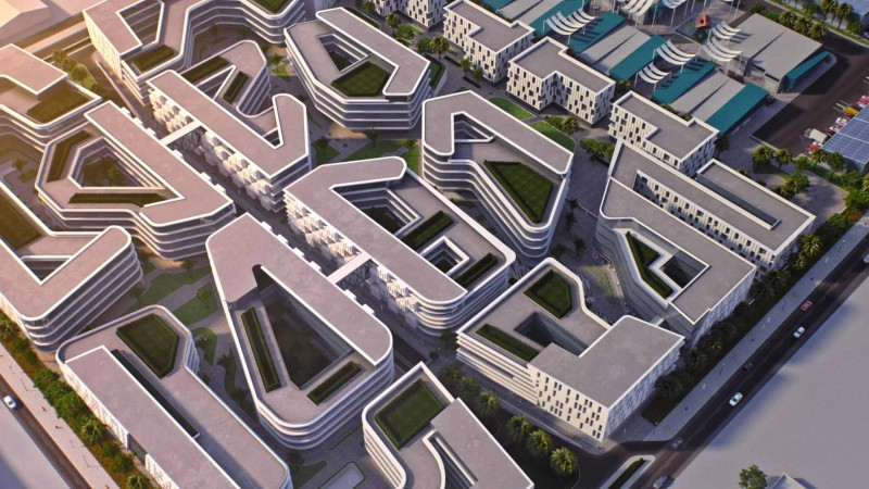 An aerial view of the Dubai CommerCity development