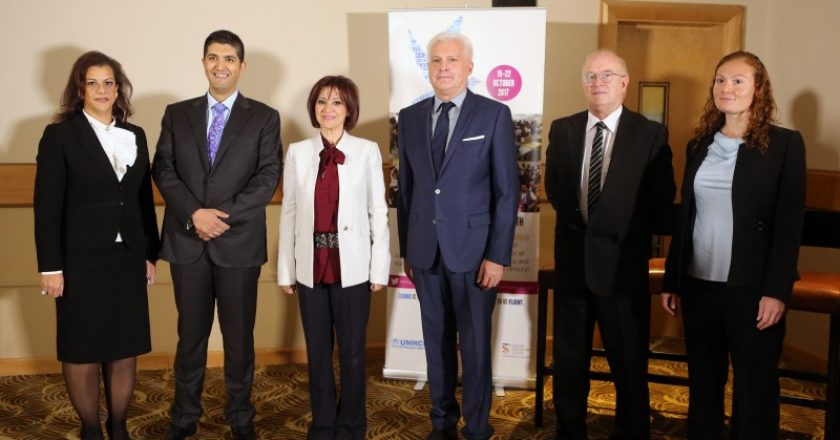 Representatives from the Jordanian government, SAP and the United Nations celebrate the closure of the second Refugee Code Week