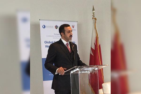 HE Sheikh Abdulla bin Ahmed Al Khalifa, Bahrain's Undersecretary for International Affairs, speaking at the UN HQ in New York following the Global Entrepreneurship Congress announcement.