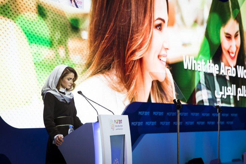 "Queen Rania highlighted the role technology can have on closing the ""hope gap"" impacting the dispriviliged, both within the Arab region and the world at large."