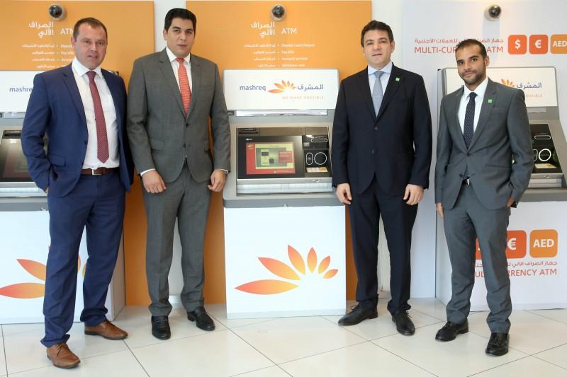 (L-R) Alain Francis and Aref Al Ramli, UAE Mashreq Bank, Wael El Aawar and Motaz Ghazi, NCR
