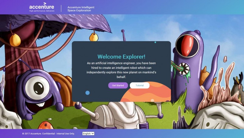 Accenture's 'Hour of Code' builds a coding tutorial that features a robot using artificial intelligence to explore a new planet.