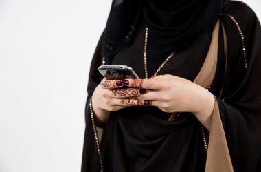 Arab woman mobile, Saudi telecom