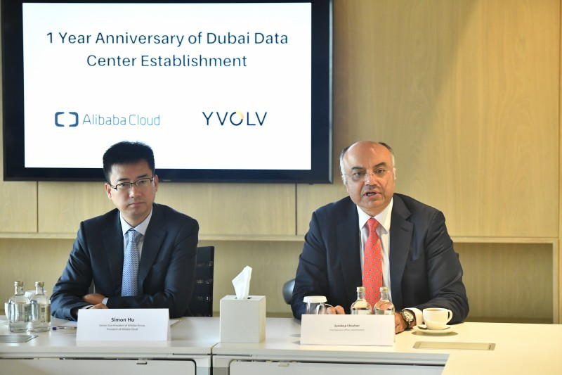 Simon Hu and Sandeep Chouhan at the one year anniversary of the Alibaba Cloud Dubai data centre.
