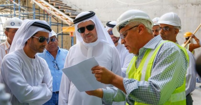 Saeed Mohammed Al Tayer is shown plans at the R&D site