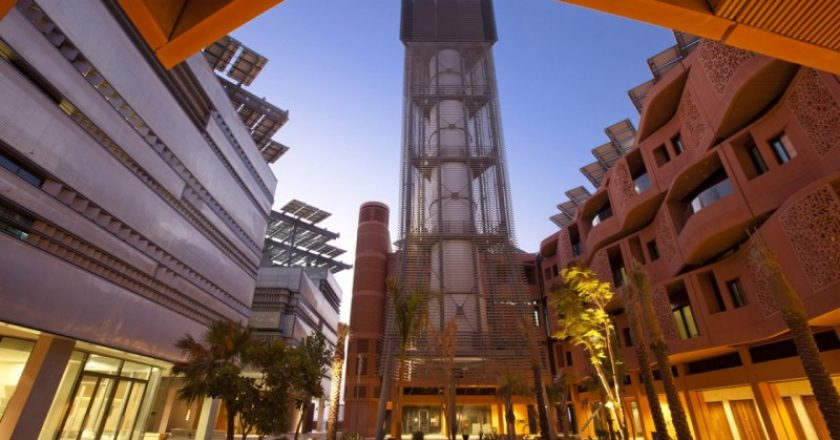 Masdar's centre courtyard and wind tower