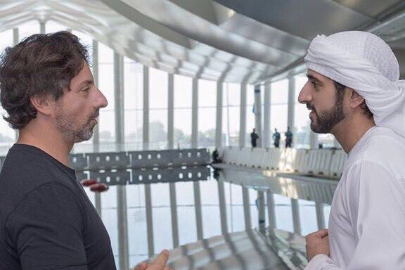 Sergey Brin with HH Sheikh Hamdan. credit @hamdanmohammed