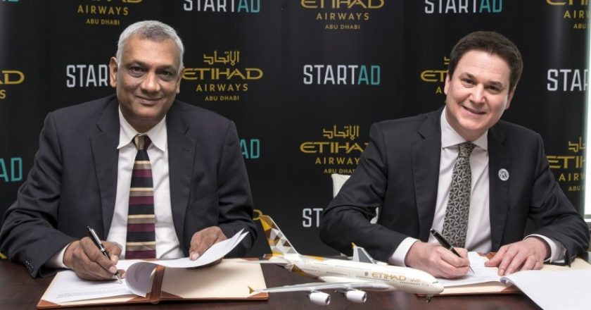 Ramesh Jagannathan, managing director of startAD and Vice Provost for innovation and entrepreneurship at NYU Abu Dhabi and Peter Baumgartner, Etihad Airways Chief Executive Officer sign the MoU