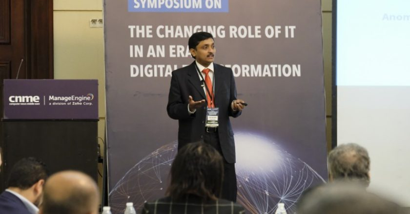 ManageEngine's director of product management Gibu Mathew speaking at the conference