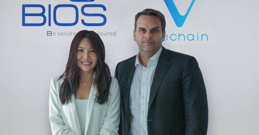 Sara Nabaa, Country Manager, VeChain and Dominic Docherty, Managing Director, BIOS Middle East