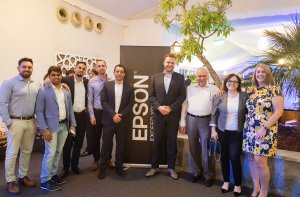 Jeroen van Beem, Epson MEA (fourth from right) and Nicolas M Kyvernitis, NMK( third from right) with Epson and NMK team members