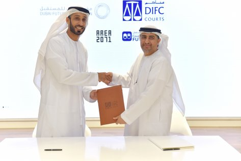 (L-R) Khalfan Juma Belhoul, Dubai Future Foundation (DFF), and Omar Al Muhairi, DIFC Courts, court tech