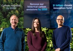Microsoft President Brad Smith, Chief Financial Officer Amy Hood, and Chief Executive Officer Satya Nadella.