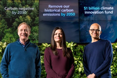 Microsoft President Brad Smith, Chief Financial Officer Amy Hood, and Chief Executive Officer Satya Nadella.