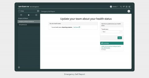 ServiceNow Emergency Self-Report App